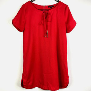 Mine Short Sleeve Red Lace Up Tunic Size Small